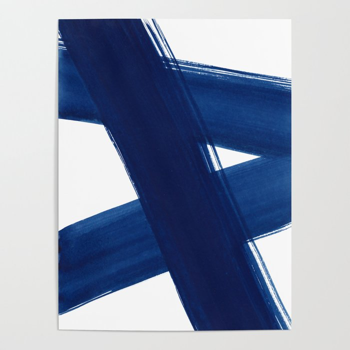 Indigo Abstract Brush Strokes   No. 4 Poster