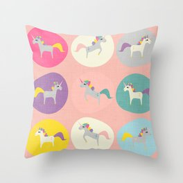 Cute Unicorn polka dots pink pastel colors and linen texture #homedecor #apparel #stationary #kids Throw Pillow