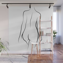 Sexy Woman Back View Line Drawing | Minimalism | Sexual Art Wall Mural