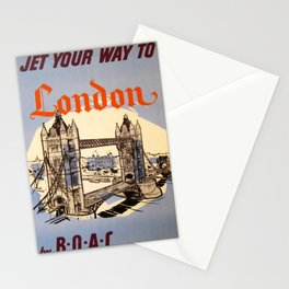 retro Jet your way to London retro poster Stationery Cards