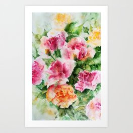 Roses-watercolor Art Print