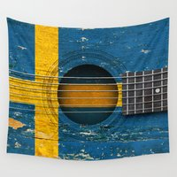 swedish Wall Tapestries featuring Old Vintage Acoustic Guitar with Swedish Flag by Jeff Bartels