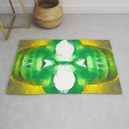 psychedelic skull art geometric triangle abstract pattern in green yellow Rug