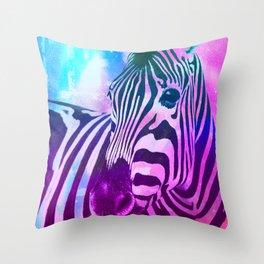 Neon Zebra Throw Pillow