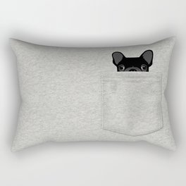 Pocket French Bulldog - Black Rectangular Pillow