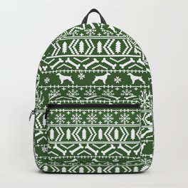 Brittany Spaniel fair isle christmas dog breed pet pattern pupper gifts Backpack