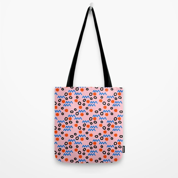 Bro - abstract retro pattern squiggle dot lines grid pink red children 1980s 80s throwback pop art Tote Bag