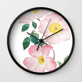 pink rosa rubiginosa watercolor Wall Clock