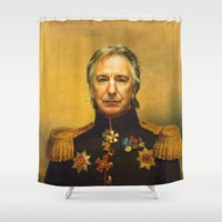 replaceface Shower Curtains featuring Alan Rickman - replaceface by replaceface