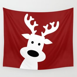 Reindeer on red background Wall Tapestry