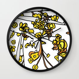 Golden Petals on Branches Wall Clock