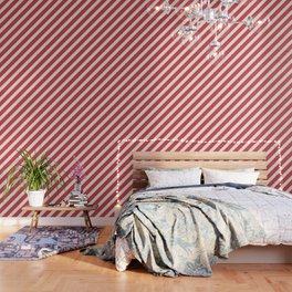 Antique White And Brick Red Stripes Wallpaper