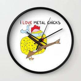 I love metal chicks Wall Clock