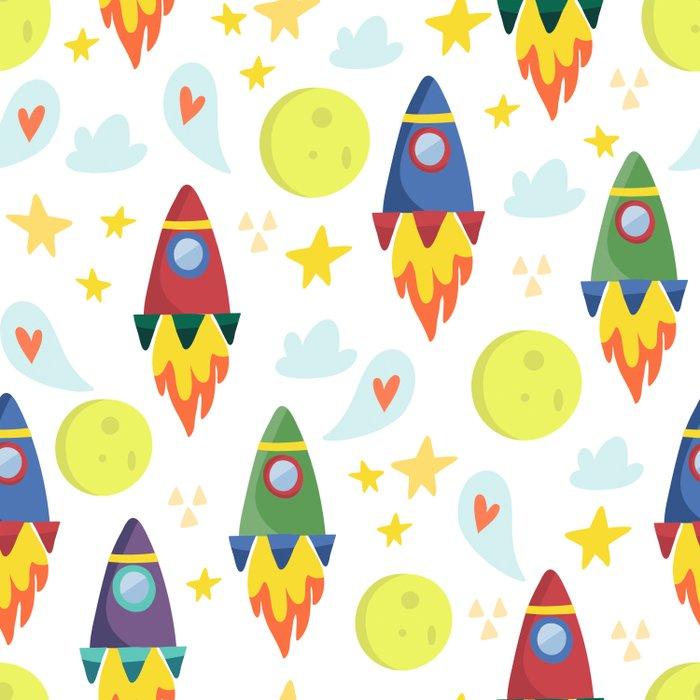 Rocket Ships Duvet Cover