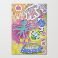 Canvas Prints featuring Blue Octopus and white Knight by Heidi Capitaine