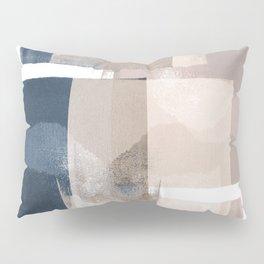 "Navy and Pink Minimalist Geometric Abstract ""Building Blocks"" Pillow Sham"