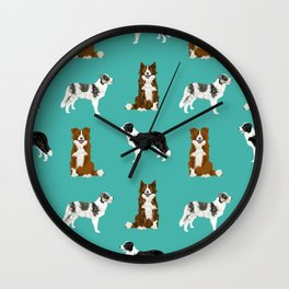 Border Collie mixed coats dog breed pattern gifts collies dog lover Wall Clock