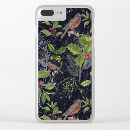 Christmas Botanical with Dark Background Clear iPhone Case