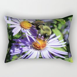 Pollen Dusted Bee on Asters Rectangular Pillow