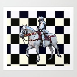 Knight on white horse with Chess board Art Print