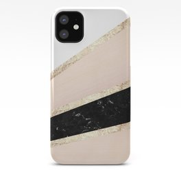 Blush, White, Black Marble and Rose Gold Stripes Glam #1 #minimal #decor #art #society6 iPhone Case