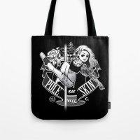 tatoo Tote Bags featuring Pole Friends - Tatoo Black by Pole Friends Shop