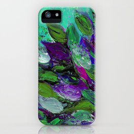 BLOOMING BEAUTIFUL 1 - Floral Painting Mint Green Seafoam Purple White Leaves Petals Summer Flowers iPhone Case