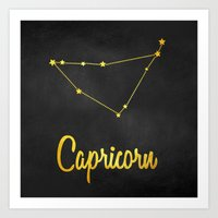 Capricorn Zodiac Constellation in gold Art Print