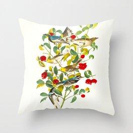 Vintage Scientific Bird & Botanical Illustration Throw Pillow
