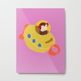 Monkey in a Toy Submarine Metal Print