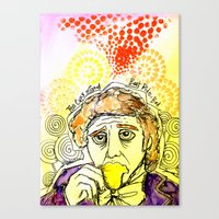 willy wonka Canvas Prints featuring Willy Wonka Drinks His Tea - Gene Wilder  by Sewzinski