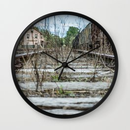 Train Yard Weeds Railroad Track Ore Cars Station Wall Clock