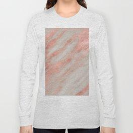Marble Rose Gold White Marble Foil Shimmer Long Sleeve T-shirt