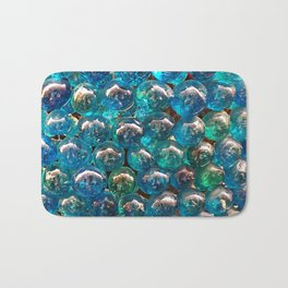 Turquoise Blue Glass Marbles Texture Bath Mat