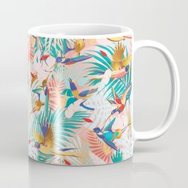Colorful, Vibrant Paradise Birds and Leaves Coffee Mug