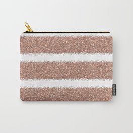 Rose gold glitter stripes Carry-All Pouch