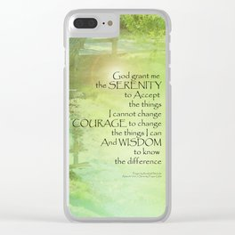 Serenity Prayer Trees, Water, Bridge Clear iPhone Case