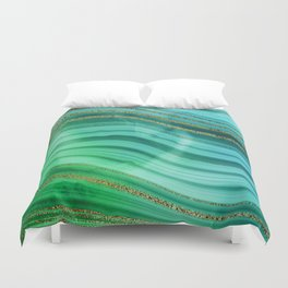 Ocean Blue And Green Mermaid Glamour Marble Duvet Cover