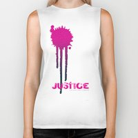 justice league Biker Tanks featuring JUSTICE by TheCore