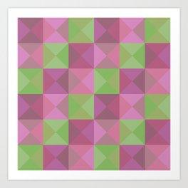 Obake - Colorful Pink Green Decorative Art Pattern Art Print