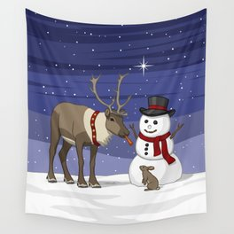 Santa's Reindeer Giving Snowman's Carrot Nose To Bunny Wall Tapestry