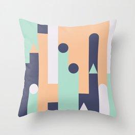 Castles abstract geometric art Throw Pillow