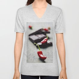Dark chocolate with chili pepper over wooden background Unisex V-Neck
