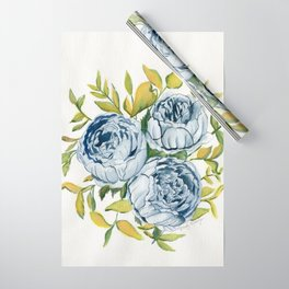 Blue Flowers Watercolor Wrapping Paper