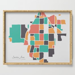 Santa Ana California Map with neighborhoods and modern round shapes Serving Tray