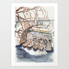 Oxford: Punts at Magdalen Bridge Art Print