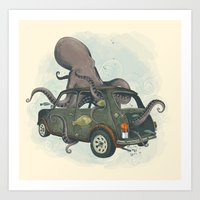 beastie boys Art Prints featuring Beastie of the Deep by Clinton Jacobs