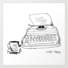 Earnest Hemingway Writing on Typewriter Art Print