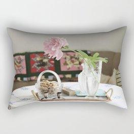 Peony and patchwork still life Rectangular Pillow