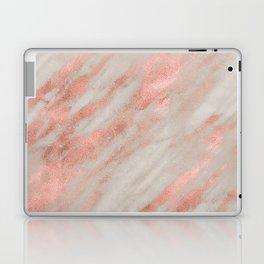 Marble Rose Gold White Marble Foil Shimmer Laptop & iPad Skin
